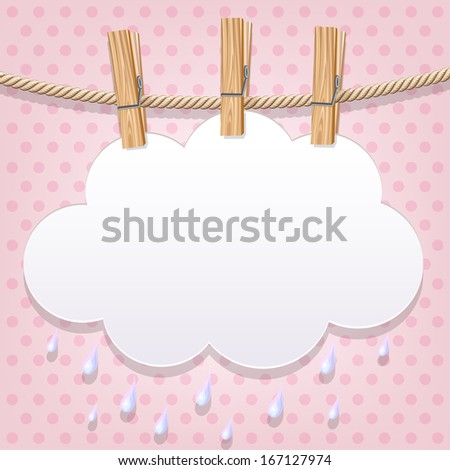 White paper cloud hanging by clothes peg on a clothesline. Raster version - stock photo