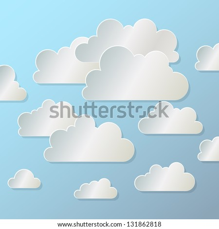 white paper cloud  on  blue background, raster version