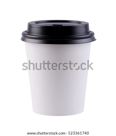 White paper coffee cup with black top. Isolated on white background with clipping path.