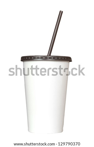 white paper cup and drinking straw isolated on white with clipping path - stock photo