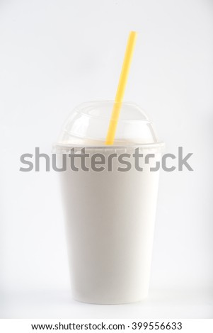 White paper cup and red drinking straw isolated on white background