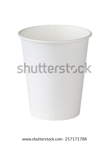 White paper cup isolated on white. - stock photo