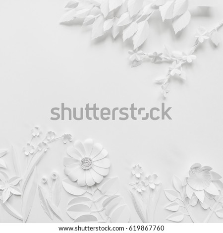White paper flowers wallpaper on white stok fotoraf telifsiz white paper flowers wallpaper on white background spring summer background floral design elements mightylinksfo
