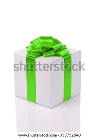 white paper gift box with green ribbon bow isolated on white