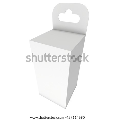 White paper hanging box. Packaging container with hanging hole. Mock up template. 3d render isolated on white background. - stock photo