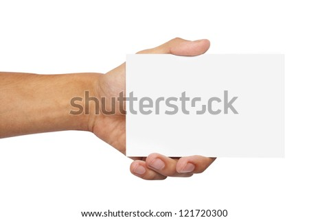 white paper in hand isolated - stock photo