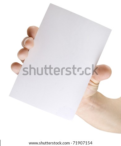 white paper in hand isolated