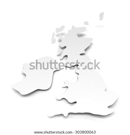 White paper map of UK, 3d render