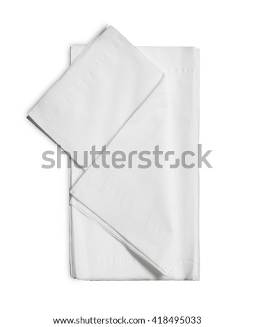 White Paper Napkins Isolated on White Background.