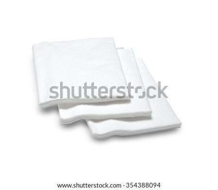 white paper napkins on a white background - stock photo