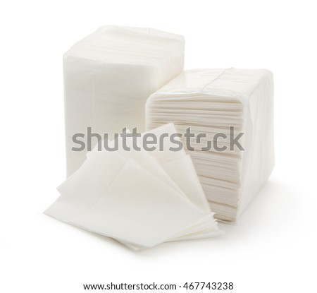 White paper napkins on background in closeup
