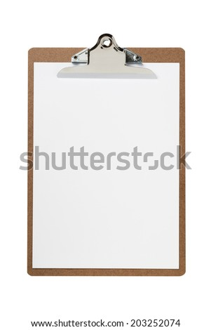 white paper on clipboard