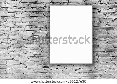 white paper on old brick wall texture, grunge wall - stock photo