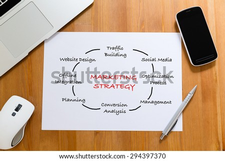 White paper on working desk with hand draft of marketing Strategy concept - stock photo