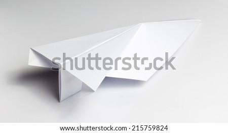 White Paper Origami Plane - stock photo