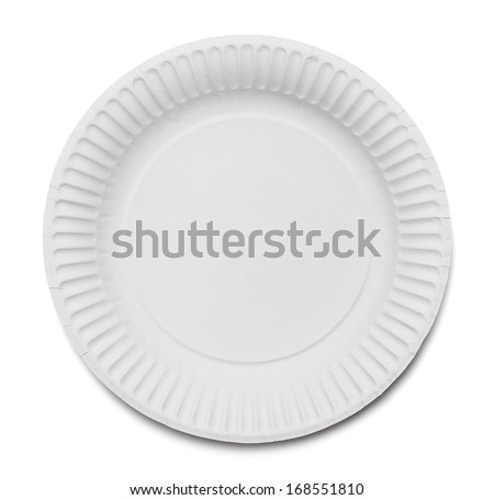 White Paper Plate Isolated on White Background. - stock photo