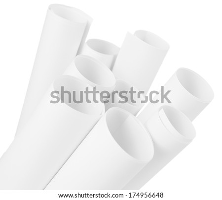 White paper rolls isolated on white - stock photo