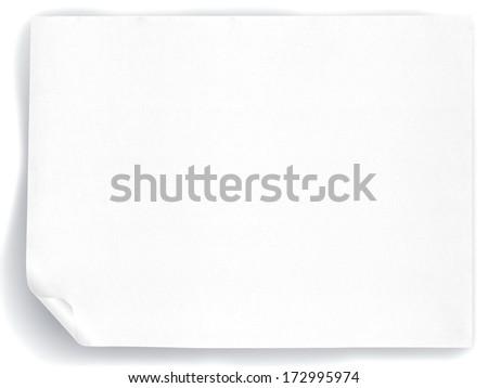 White paper sheet isolated on white background - stock photo