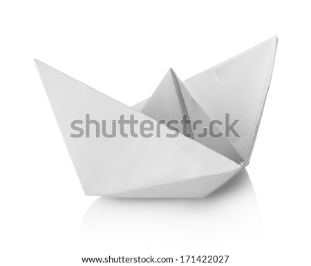White paper ship isolated on a white background