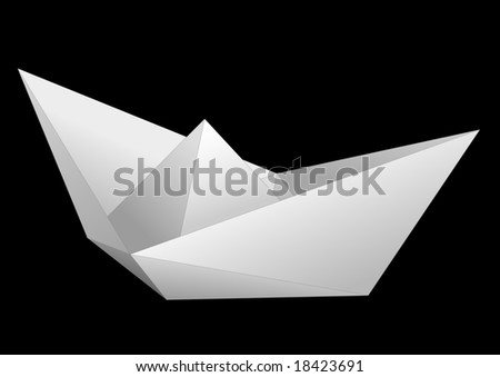White paper ship isolated on black background - raster image. Vector format in EPS is also available in my gallery.