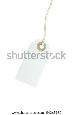 white paper swing ticket type tag with string
