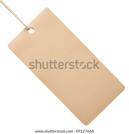White paper tag isolated on white background