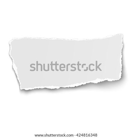 White paper tear with soft shadow isolated on white background