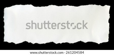 White paper tears, isolated on black background. - stock photo