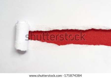 White paper torn into strips. Ground red paper. - stock photo