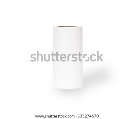 white paper tube on white background with shadow