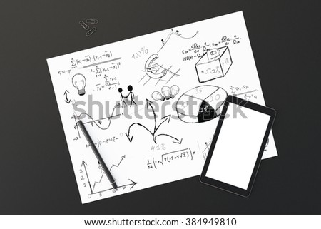 White paper with business notes, pen and blank cell phone screen on black table, mock up, 3D Render - stock photo