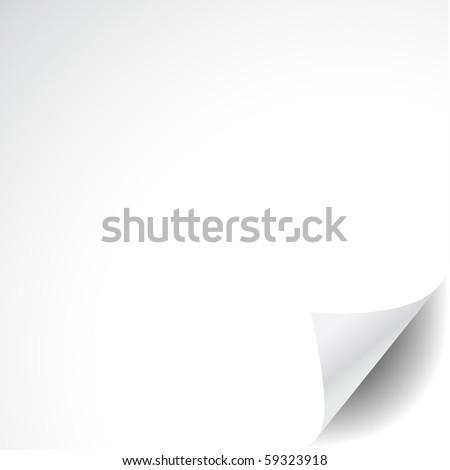 White paper with corner curl - stock photo