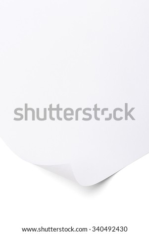 White paper with corner curl.  Blank sheet of paper on white background.