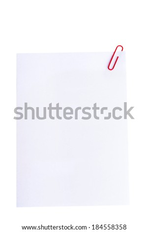 White paper with office clip. Isolated on white.
