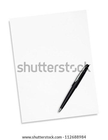 white paper with  pen isolated on white - stock photo