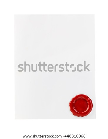 White paper with red wax seal close-up isolated on white background.
