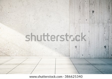 White, partially concrete and wooden empty wall interior with tile floor. Mock up, 3D Render - stock photo