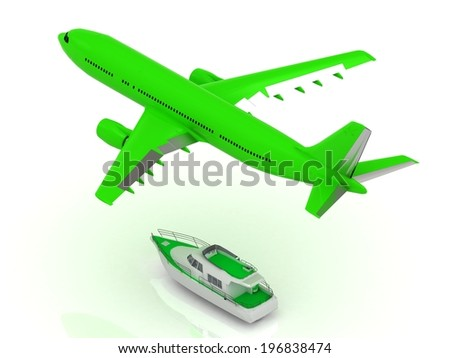 White passenger airliner and boat. Top view isolated on white - stock photo