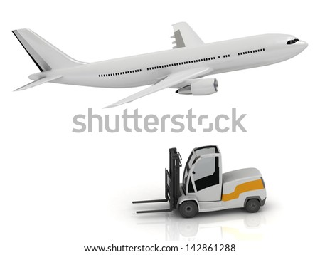 White passenger airliner and forklift isolated on a white background. Side view - stock photo