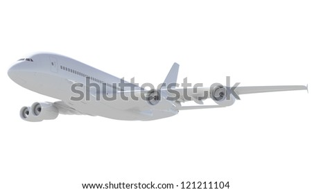 White passenger plane. A side view. Isolated render on a white background - stock photo