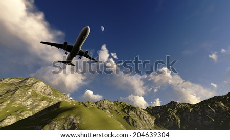 White passenger plane flying in the blue sky above the mountains made in 3d software