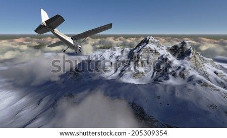 White passenger plane flying in the blue sky above the mountains made in 3d software - stock photo