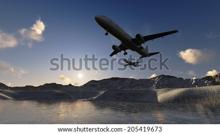 White passenger plane flying in the blue sky  m ade in 3d software