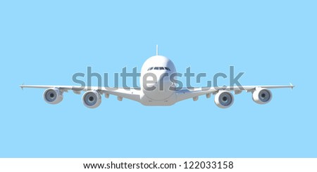 White passenger plane. Front view. Isolated render on a blue background - stock photo