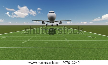 White passenger plane landing on ragby field  made   in 3d software - stock photo