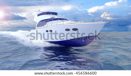 White Passenger Pleasure Boat On A Blue Sea, Boating and Yachting  - Photorealistic 3D Rendering With Water Splashes and Lens Flare - stock photo