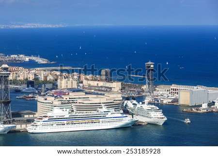 white passenger ships in the seaport - stock photo