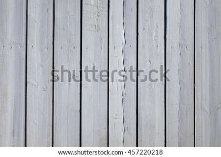 White Patio Wooden Weathered Planking Decking Flooring Background Texture, Beach Wood Floor. Light Grey Sundeck Surface. Close Up, Copy Space - stock photo