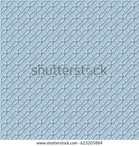 white pattern and blue background