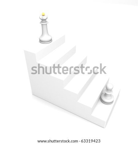 White pawn and white queen on white ladder - stock photo
